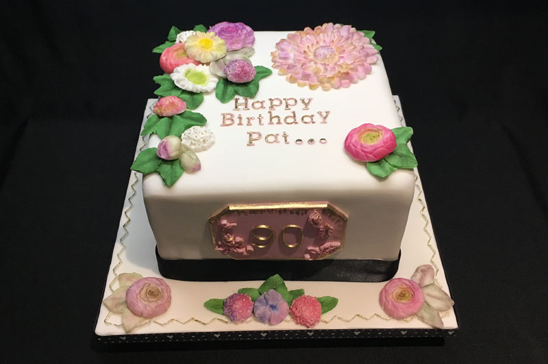 90th Birthday Floral Cake